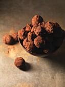 Bowl of chocolate truffles