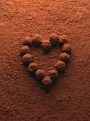 Heart of chocolate truffles