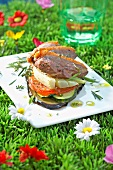 Duck magret and summer vegetable mille-feuille