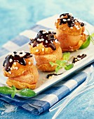 Chouquettes filled with mango sorbet