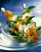Melon and goat's cheese brochettes
