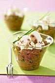 Gemüsekaviar mit Champignons und Feta