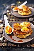 Scallops with madarine-flavored oil and chicory savory Tatin tart