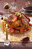 Roast poulard hen with pan-fried pomelos