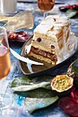 Rum and passionfruit log cake flambée