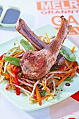 Lamb chops and vegetable wok