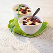 Custard with griotte cherries