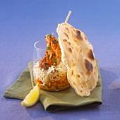 Chicken tandoori with orange lentils and chapati