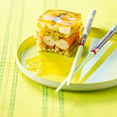 Vegetable and surimi crab aspic terrine