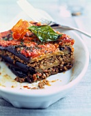 Eggplant lasagnes with minced beef and basil