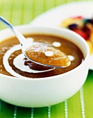 Cream of vegetable soup with a drop of cream