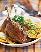 Duck conserve with potatoes à la sarladaise