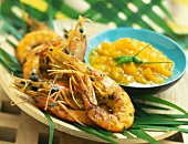 Creole spicy shrimps with mango chutney