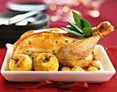 Stuffed poulard hen with chestnuts and apples