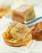 Lump of foie gras with apricots