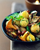 Mushroom,chestnut and bacon stir-fry