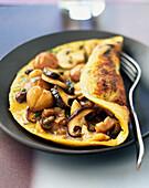 Mushroom and chestnut omelette