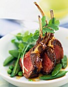 Roast lamb chops with caramel sauce