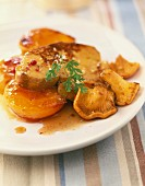 Pan-fried foie gras with apricots and chanterelles