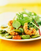 Warm Dublin Bay prawn,tomato and broad bean salad