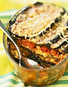 Cod and eggplant cheese-topped dish