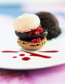 Raspberry and chocolate ice cream macaroon