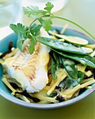 Alaska cod with lemon and coconut milk sauce