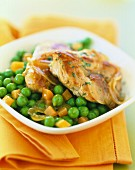 Pork Filet mignon with marjoram and peas