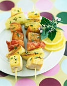 Chicken, bread and fennel kebabs