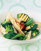 Sauteed chicken and green vegetables