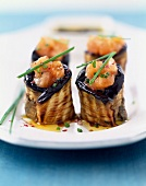 Eggplant and salmon makis