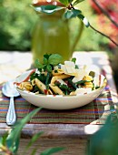 Penne,green bean and marinated tomato salad