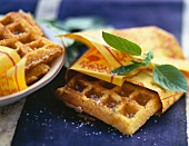 Corn flour waffles with chopped scallions and ginger