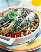 Mackerels with basil and Basquaise rice