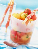 Sunny watermelon and melon fruit salad