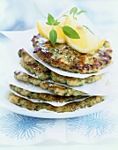 Grilled chicken burgers with Espelette pepper and basil