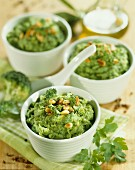 Individual broccoli purees with pine nuts