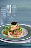 Tuna, morel and leek terrine