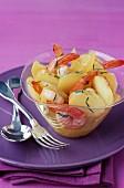 Ratte potato and shrimp salad with basil dressing