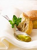 Bread,oilve oil and fresh oregano