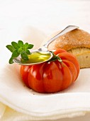 Bread, tomato, oilve oil and fresh oregano