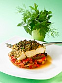 Thick piece of bass with herb crust