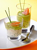 Crab meat, avocado and citrus fruit verrines