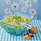 Cold potato, zucchini and mint soup
