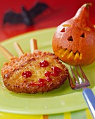 Halloween-style breaded turkey escalope