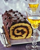 Rolled log cake with coffee Ganache