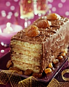 Mascarpone and chestnut cream log cake