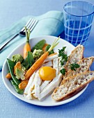 Crisp vegetable and fried egg salad