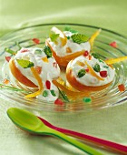 Half apricots filled with fromage blanc and crystallized fruit