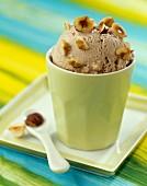 Coffee ice cream with hazelnuts